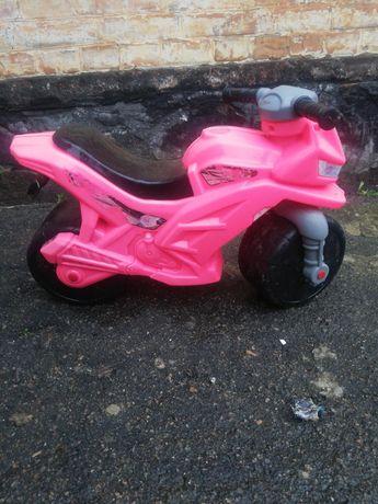 Розовый беговел мотоцикл Орион б/у