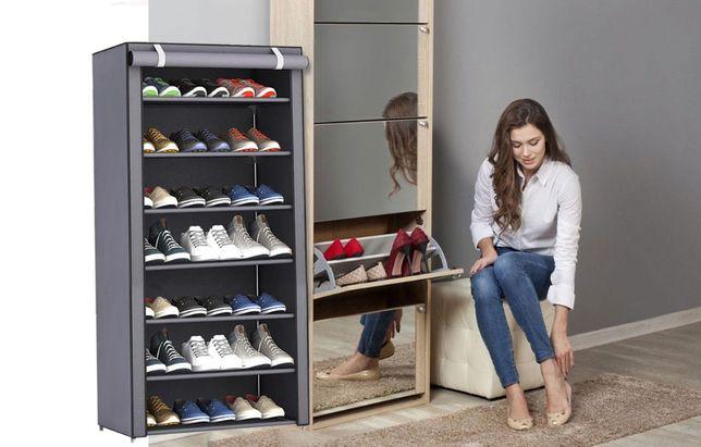 Складной тканевый шкаф-полка для обуви 7 полок на молнии с кармашком