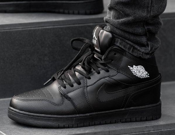 Зимние мужские кроссовки Nike Air Jordan Retro 1 Black черные найк