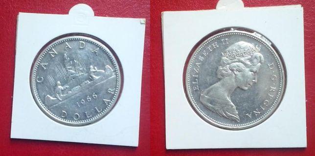 Канада. Дискавери - 1доллар, серебро, 1966