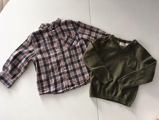 Zestaw, koszula i NOWY sweter Mango, rozmiar 86