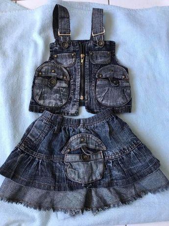 красивый джинсовый костюм юбка и жилетка 3-4 года