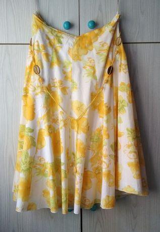 Kolorowa żółta kwiecista spódnica Soon Matalan kwiaty lato letnia