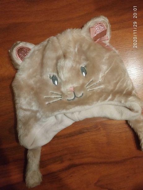 Czapka zimowa dla dziewczynki kotek r. 52 cm 4-6 lat Nowa