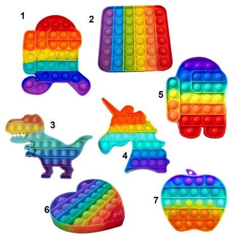 Игрушка Антистресс Push POP It Bubble  разноцветная Поп Ит пупырка