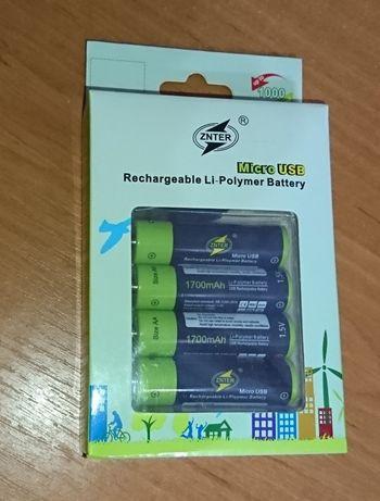 Батарейки аккумуляторы АА 1700mAh, ААА 600mAh Znter. microUSB зарядка