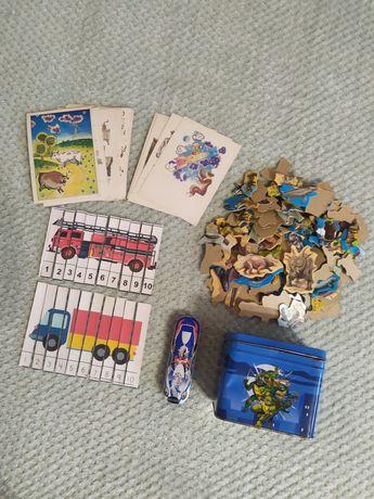 Пазлы, карточки, железный кейс с черепашками ниндзя ВСЕ за 50 гр