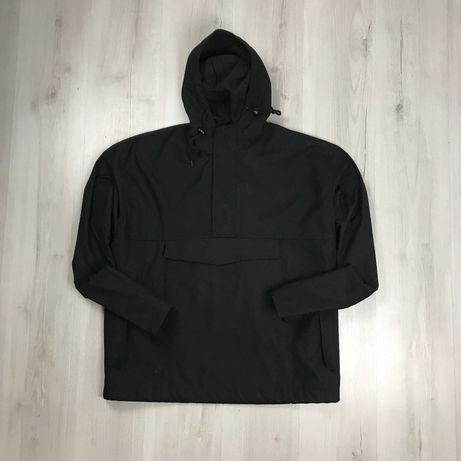 Анорак ветровка джинсовый темный черный с капюшоном куртка курточка