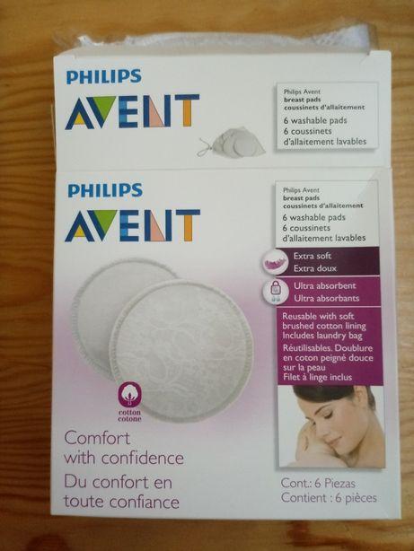 Wkładki laktacyjne wielorazowe Philips Avent 6 sztuk nowe