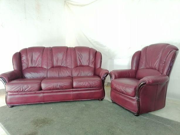 кожаный гарнитур . шкіряний комплект, диван і крісло