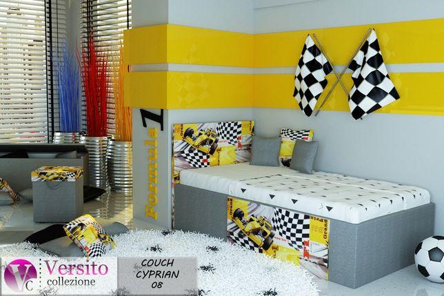 Łóżko dla dziecka, łóżko dziecięce z formułą w kolorze żółtym +materac