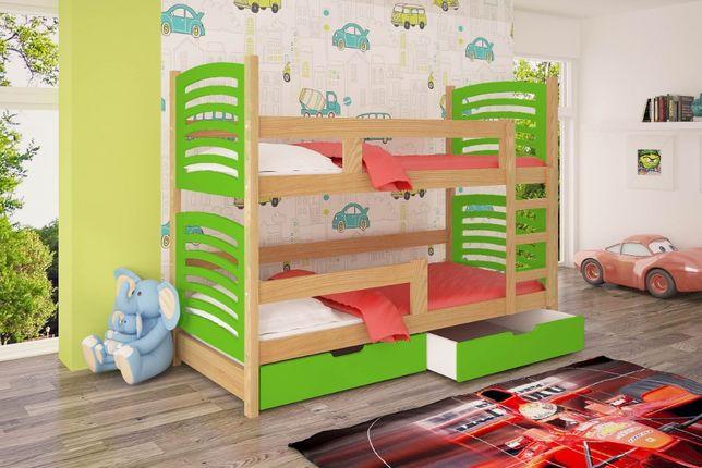 Łóżko piętrowe dla dwóch osób OLI z wysuwanym dolnym spaniem.