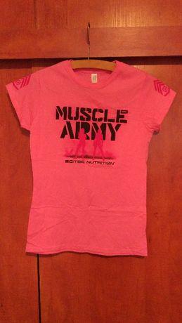 T-shirt Muscle Army NOWY różowy