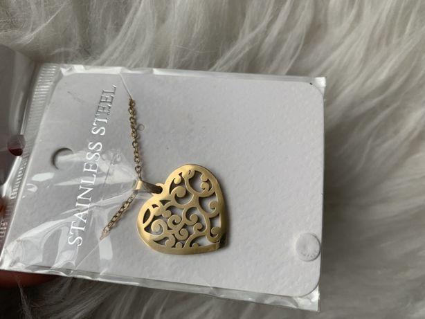 Naszyjnik nowy złoty serce z zawieszka zawieszka łańcuszek yes charms