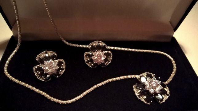 Komplet biżuterii - Wisior + Kolczyki - Srebro Cyrkonie