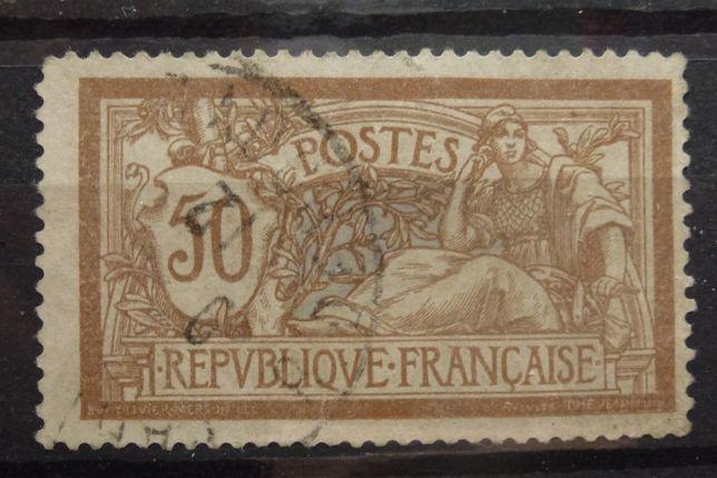 Znaczki pocztowe - Francja rok 1900 Mi 97 kasowany, ze śladem podlepki
