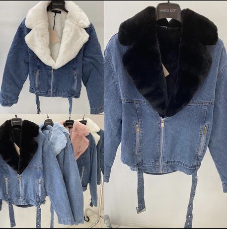 Куртка мех хутро зимняя весенняя Италия джинсовая с мехом утеплённая
