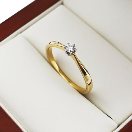 APART Pierścionek z Brylantem 0.08CT Złoty 585 Zaręczynowy z Diamentem