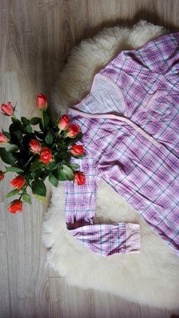 Różowa w krate koszula do karmienia i do szpitala na długi rękaw roz.M