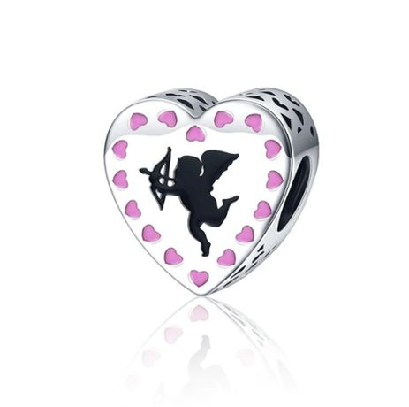 Charms PANDORA srebro 925 amor miłość serce serduszka emalia różowa