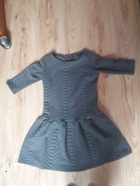 Pikowana Szara Sukienka M/38