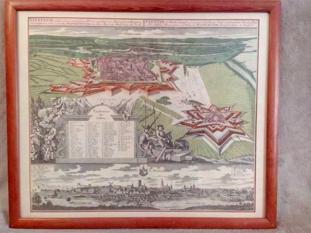 Twierdza Szczecin. Mapa 1735 r. 60x50 cm.