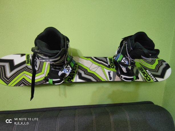 """Zestaw snowboardowy - deska 155, wiązania """"L"""" i buty 43,5"""
