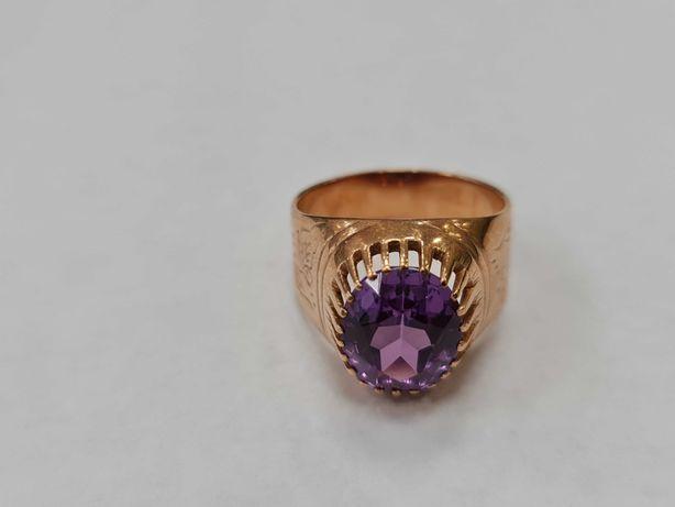 Wyjątkowy złoty pierścionek damski/ Radzieckie 583/ 7.27 gram/ R18
