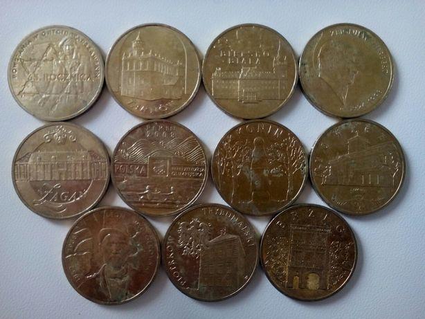 Польские юбилейные монеты 2 злотых. 11 шт.