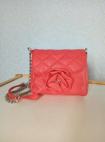 Сумочка сумка через плечо красная малиновая