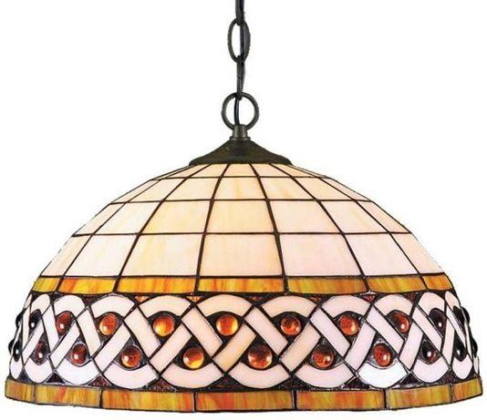 Klasyczna Lampa Wisząca Witrażowa Tiffany 2pł.