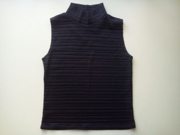 Черная полупрозрачная блузка без рукавов, размер 44-46