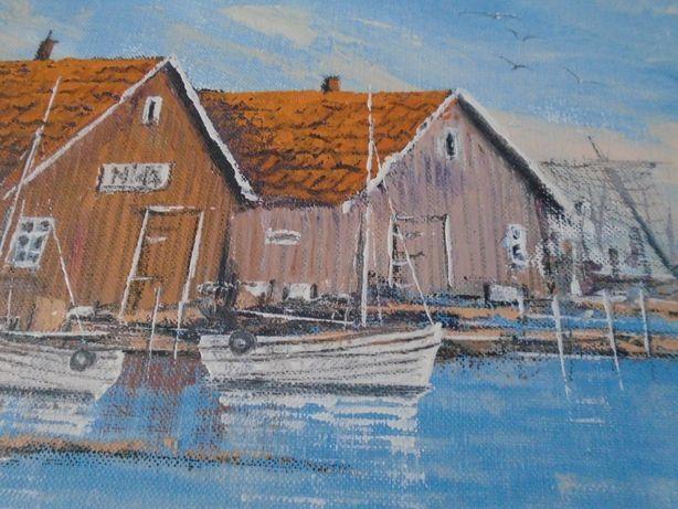 Obraz olejny Skandynawska przystań rybacka