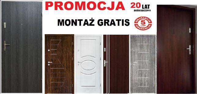 Drzwi zewnętrzne z montażem wejściowe, metalowe i drewniane -do bloku