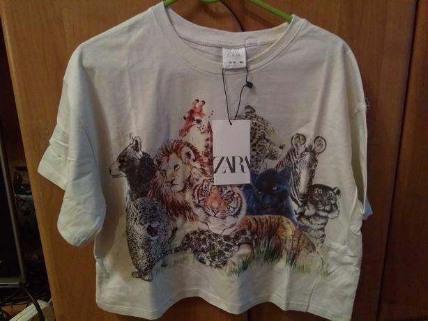 Модная укороченная футболка кроп zara с большим принтом и стразами