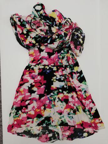 Sukienka hiszpanka z falbaną na jedno ramię H&M