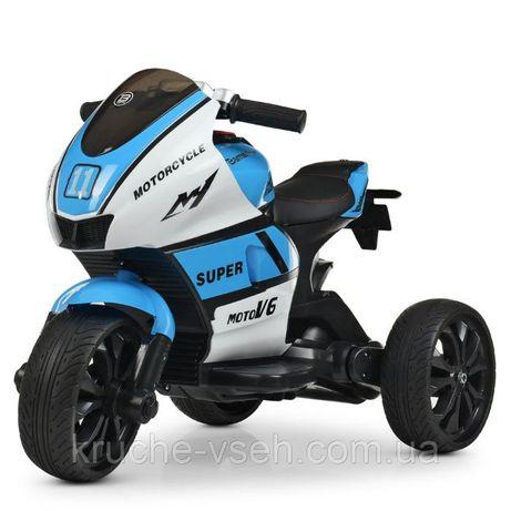 Детский электромобиль Мотоцикл M 4135, колеса EVA, кожа, музыка, свет