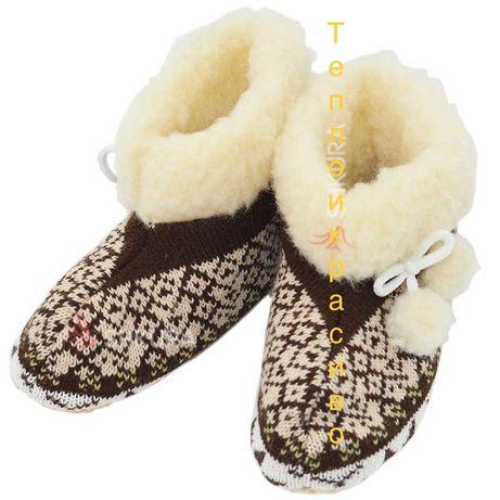 Чуни детские вязаные из овечьей шерсти. тапочки сапожки пинетки