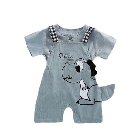 Комбинезон на лямках для новорожденных, шорты с мультяшным принтом