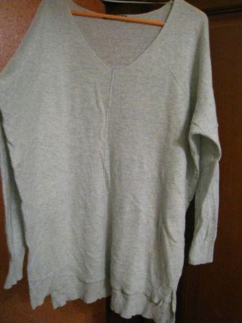 модный женский удлиненный свитер мятного цвета шерсть, на р.52-54