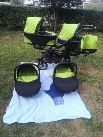 Wózek bliźniaczy 3w1