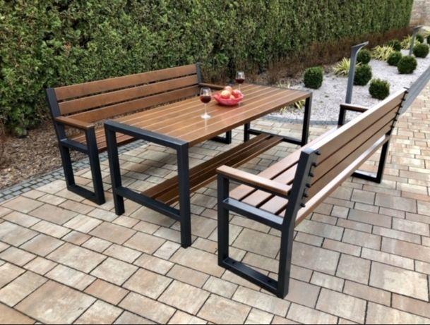 Meble ogrodowe drewniane ławki i stoły