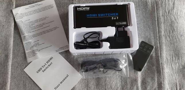 Switch Przełącznik HDMI 5x1 2.0 UltraHD 4K HSW25