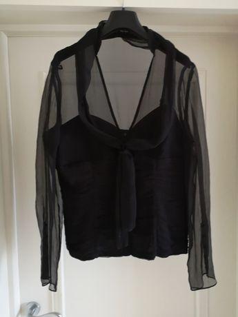 Блуза черная шелковая со съемным шарфом
