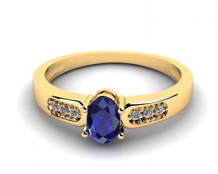 Pierścionek Zaręczynowy Złoty z Szafirem Rozmiar 12 Nowy Okazja