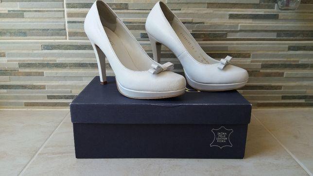 buty ślubne - Czółenka RYŁKO - ESTIMA Y8200 białe matowe r.38