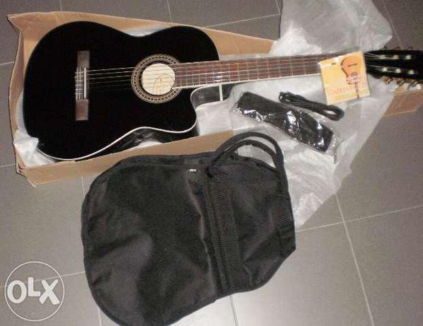 Set guitarra eletroacústica com equalizador e cordas nylon