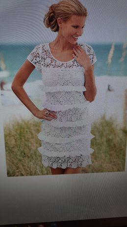 Sukienka biała koronka 36
