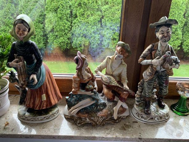 Capodimonte sygnowane figury 3 szt neapol włoskie
