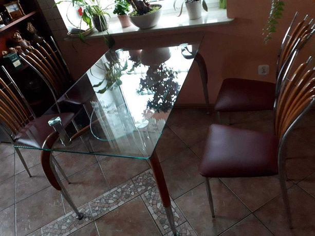 Szklany stół i 4 krzesła
